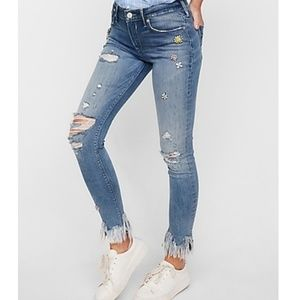Express jewels cropped jeans